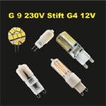 LED G9  230Volt og stift G4 12 volt